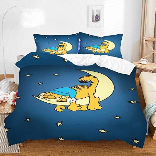 KIrSv Funda de Almohada con diseño de impresión 3D de Garfield, Familiares y Amigos,decoración de Dormitorio,apartamento,la Mejor Ropa de cama-F-010_180 * 210cm(3pcs)