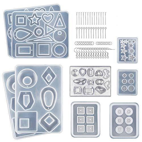 Fransande Moldes de resina epoxi para pendientes, colgantes, pulseras y collares, 249 piezas de moldes de resina de silicona para fabricación de joyas