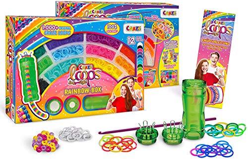 CRAZE Scoubiloops Knüpfringe inkl. Perlen Alu Häkelnadel 1000 Teile viel Zubehör 24584 Loops-Rainbow Box, bunt