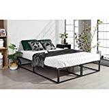 Furniture-R Francia - Marco de Cama Doble (Cama matrimonial, tamaño King Size), Metal, Negro, King Size