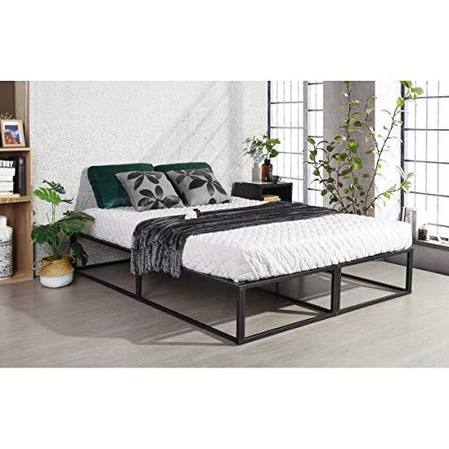 FURNITURE-R France Somier de cama con plataforma para cama doble, tamaño King, color negro