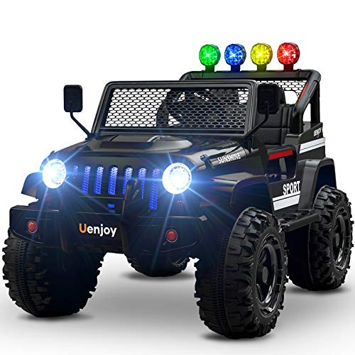 Uenjoy Ride on Car with Remote Control 12V Electric Car for Kids, Music, Story Playing, Colorful Lights, Sunshine Model,Black