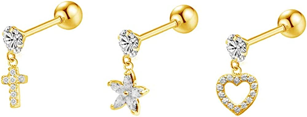NewZenro Tiny Dangle Heart Cross Flower 20g Ear Cartilage Helix Surgical Stainless Steel Cubic Zirconia Studs Earrings Screw Backs Ear Tragus Auricle Nose Lip Piercing Jewelry Set Gifts BFF Birthday