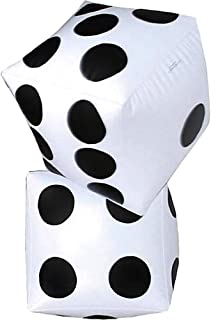 Jumbo Fun 24 Inch Giant Inflatable Dice (2pk) Extra Large Size, Vegas Casino Party Decoration, (2ft)