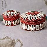 GFDFD Caja de Almacenamiento de Joyas de Estilo Nacional Retro Tibetano con decoración de Cuentas de Concha Blanca de 2 Piezas para Pendientes Caja Vintage