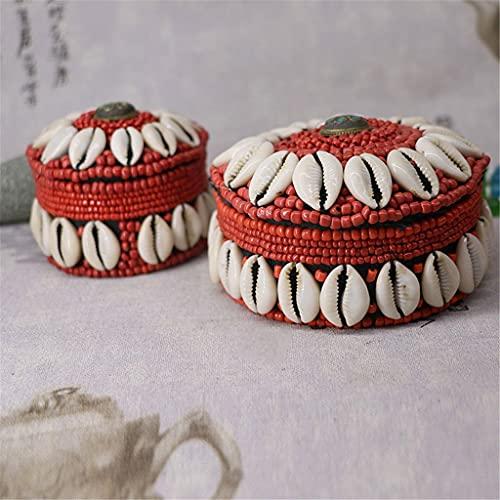 BWCGA Caja de Almacenamiento de Joyas de Estilo Nacional Retro Tibetano con decoración de Cuentas de Concha Blanca de 2 Piezas para Pendientes Caja Vintage