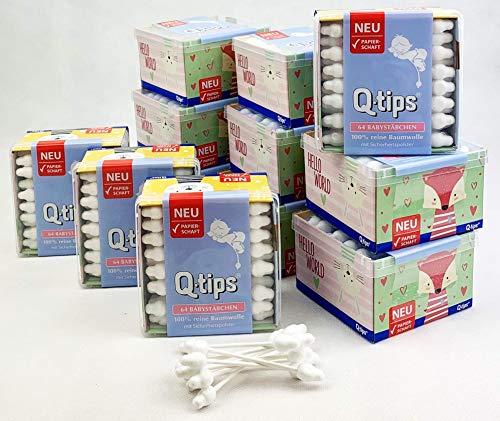 Q-tips® Baby-Pflegestäbchen mit Papierschaft, Würfelbox, Vorteilspack (12x 64 Stück), 100% biologisch abbaubar, Baumwolle ohne Plastik …
