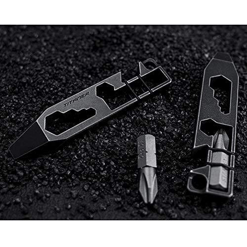 Titaner Titanium Multitool Pry Bar Bottle Opener Screwdriver Wrench Tool EDC Gear Keychain Tools (Black)
