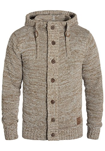 !Solid Pierrot Herren Strickjacke Cardigan Grobstrick Winter Pullover mit Kapuze und Knopfleiste, Größe:L, Farbe:Dune (5409)