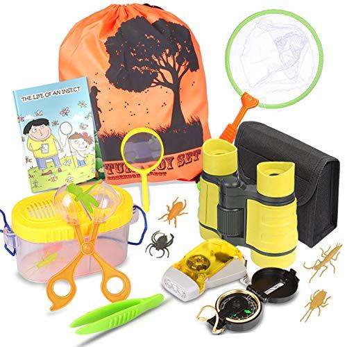 Draussen Forscherset & Bug Catcher Kit mit Kinder fernglas, Kompass Lupe, Schmetterlingsnetz, Pinzette Adventurer Explorer Set für Camping Geschenke für 3-10 Jahre Junge Spielzeug …