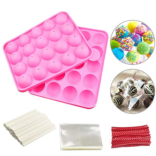 DECARETA Cake Pop Moulds,Silicon Moulds,BPA Free Silicone Lollipop Mould with 100 Lolipops Stick,100 Twist Ties and 100 Samll Treat Bags for Hard Candy, Lollipop,Cake Pop and Party Cupcake (24ballen)