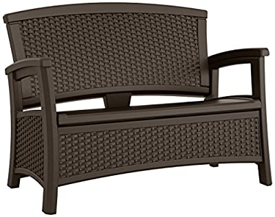 Suncast Elements Loveseat with Storage - Lightweight, Resin, All-Weather Outdoor Loveseat Chair - Wicker Patio Decor with Built in Storage Capacity up to 23 Gallons - Java