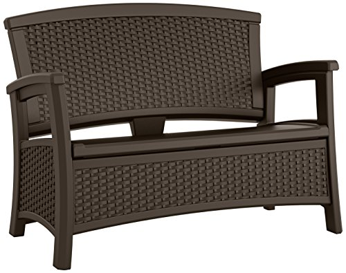 Suncast Elements Loveseat with Storage - Lightweight, Resin, All-Weather Outdoor Loveseat Chair -...