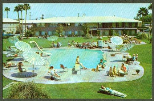 Hotel Desert Hills pool 2745 E Van Buren Phoenix AZ postcard 1960s