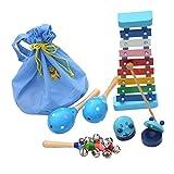 Happy Cherry - (Set de 6 Juguetes de Instrumentos Musicales de Percusión Madera Set Banda de música armónica sonajero Maracas para bebés niños niñas - Azul
