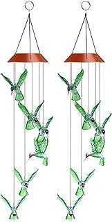 2 Pcs LED Solar Wind Chime Handmade Color Changing LED Wind Chime Solar Powered LED Hanging Lamp for Outdoor Indoor Garden...