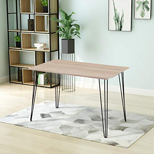 GOLDFAN Modern Dining Table Rectangular Kitchen Table Living room Table Wood Top and Metal Leg Light Brown 110cm(Table Only)