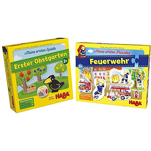 Haba 4655 - Meine ersten Spiele Erster Obstgarten, unterhaltsames Brettspiel rund um Farben und Formen ab 2 Jahren & Meine ersten Puzzles – Feuerwehr | Kinderpuzzle mit 5 spannenden Feuerwehrmotiven