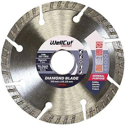 """Wellcut 4.5"""" Universel Turbo Disque Diamant Lame De Meuleuse D'angle De Diamant Pour Béton,115 x 22.23 mm"""