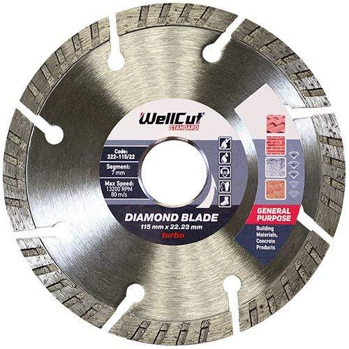 Wellcut Dewalt 222–115/22 Standard Turbo Bohrung Diamant Klinge, silber, 115x 22mm