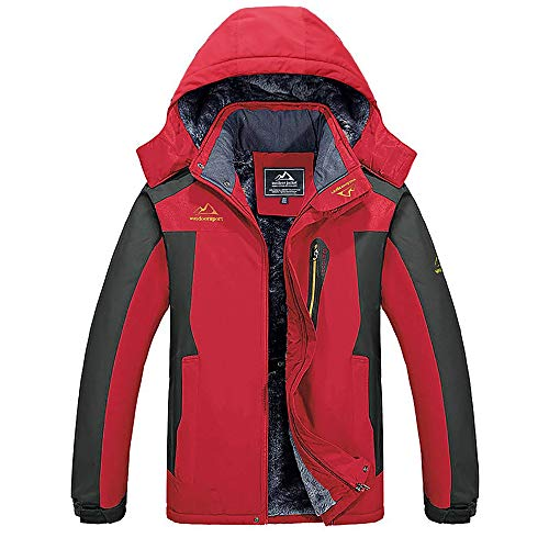 MAGCOMSEN Winterjacke Herren Winddicht Outdoorjacke Warme Skijacke Atmungsaktiv Softshell Herrenjacke Fleece Gefüttert Jacke Regenmantel mit Abnehmbarer Kapuze Rot XL