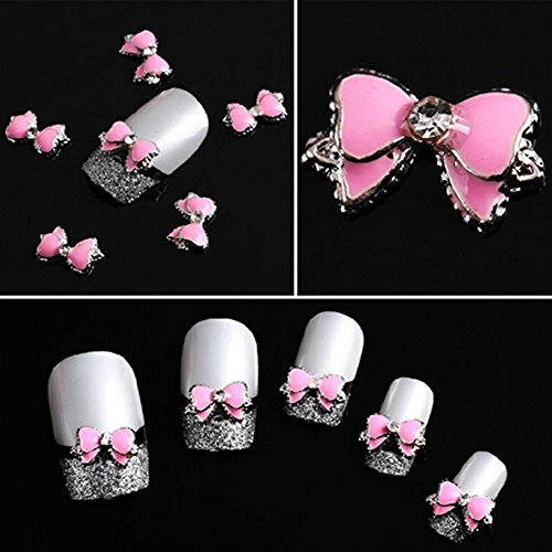 10pcs 3D Pink Alloy Rhinestone Bow Tie Butterfly Nail Art Decoration Stickers DIY