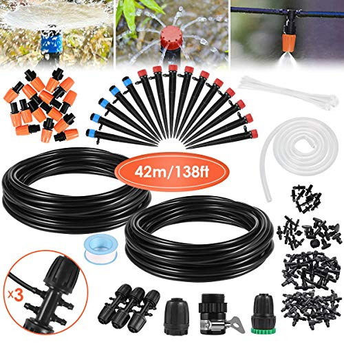 Drip Irrigation Kit, 42m/138ft Garden Irrigation System with Adjustable Nozzle Plant Garden Hose...