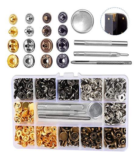 Aucheer 140 Set de botones de presión de metal cobre, botones de metal para ropa, botones de presión, juego de cierre con pinzas para cuero, vaqueros, chaquetas, carteras, bolso, manualidades,