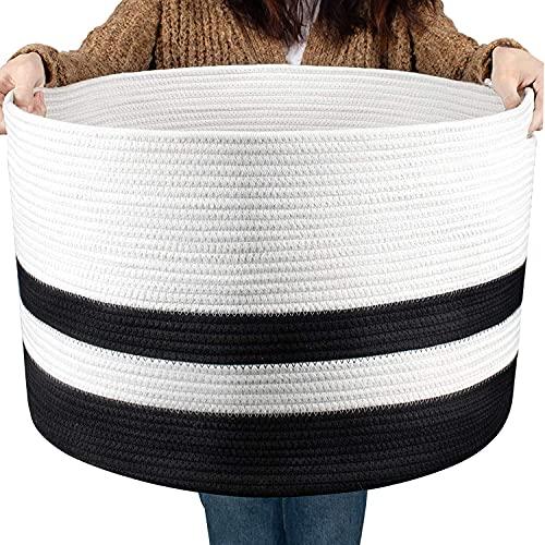 COSYLAND Baumwollseilkorb Wäschekorb Geflochtener Korb Decke Korb Aufbewahrungskorb mit Griff für Decken Kissen und Spielzeug Wohnzimmer Boden Kinderzimmer S6