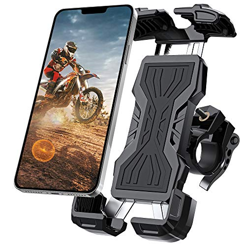 Bike Phone Mount, All-Round Adjustble Motorcycle Phone Mount, Bike Phone Holder for Bike Handlebars Fits iPhone 12 Pro Max//11 Pro/XR/XS MAX,Galaxy S20/S10/Note 10 and All 4.7-6.8inches Devices(Black)