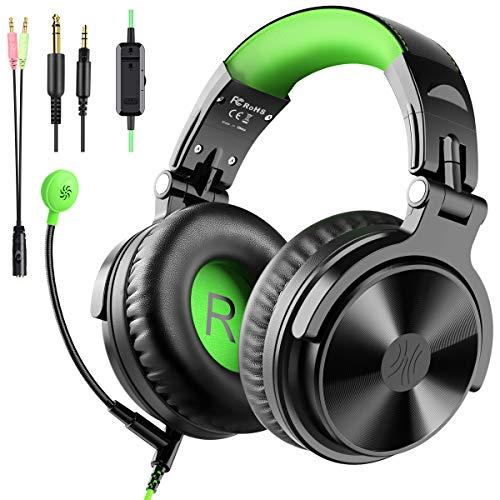 Over Ear Kopfhörer OneOdio Wired Gaming Headset mit Kabel und Boom Mikrofon Adapter-Frei Geschlossene Headphones mit Share Port für DJ Studio Podcast Handy PS4 TV PC Laptop Grün