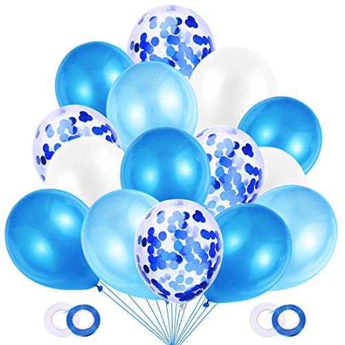 JOJOR Globos Azules y Blancos,60 Piezas Azul Globos con Confeti para Bebe 1 Año Cumpleaños,Niño Bautizos Comunion Baby Shower Azul,Bodas Aniversario Graduacion Fiesta Arco Decoracion ⭐