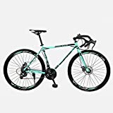 WND Road Bike Fixed Gear Bicycle  Speed Shift Bend Bicycle Male and Female Students Adult,Bianchi Black,40 Knife 21 Speed