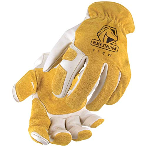Revco Black Stallion 97SW Mens/Womens Leather Work/Drivers Gloves With Reinforced Palm, Elastic Wristband, Large