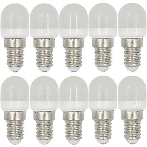 MENGS 10 Stück E14 2W LED Kühlschrank Birne Lampe AC 220-240V Warmweiß 3000K 8x2835 SMD Mit PC Mantel