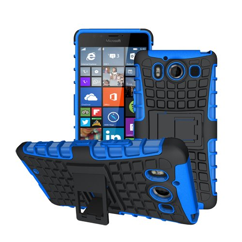 betterfon Microsoft Lumia 950 / Lumia 950 Dual Sim Blau Outdoor Hybrid Hülle Panzer Tasche Cover Silikon Handytasche Hülle SCHUTZ Schutzhülle Bumper +Gratis Bildschirmschutzfolie
