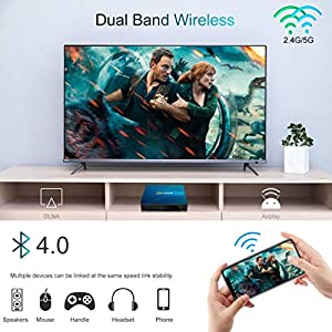 Android TV Box 10.0, QPLOVE Q8 TV Box Android【4GB RAM 128GB ROM】 RK3318 Quad Core 64 bit Cortex A53 2.4G/5G WiFi BT 4.0 3D 4K Smart TV Box con Mini Wireless Backlight Keyboard