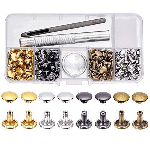 100 Set de Remache de Cuero Remache de Doble Tapa con Kit de Herramienta de Reparación para Decoración Reparación de Cuero Artesanía, 4 Colores