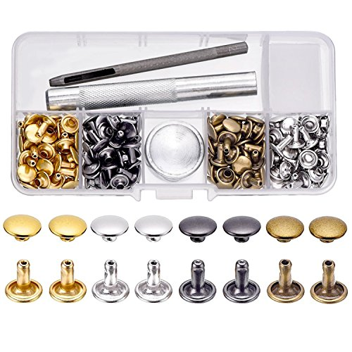100 Set Leather Rivets Double Cap Rivets with Fixing Tool Kit for Leather Craft Repairing Decoration, 4 Color