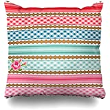 Yuanmeiju Throw Pillow Cover Art Ribbon Gingham Striped Vintage Stripes Album Antiques Baby Birthday Booking Design Shabby Decorative Pillow Case Decor Square Size 18x18 Inches Home Funda de Almohada