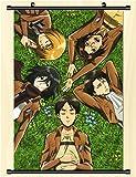 SevenLeo Anime Poster Hecho de Tela, Anime Cartoon Character Poster Tela Impermeable Desplazamiento de la Pared Cartel Pinturas Colgantes,Tema:Ataque en titán,60×90cm