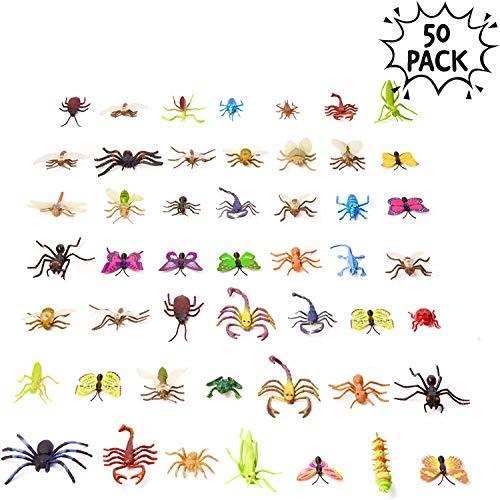 50 Plastik Insekten Figuren Spielzeug für Kinder| Ungiftige, Realistische Formen & Größen| Schmetterling Käfer Spinnen Frosch Ameisen Raupen etc| Lernspielzeug Halloween Partys Geburtstagsgeschenke.