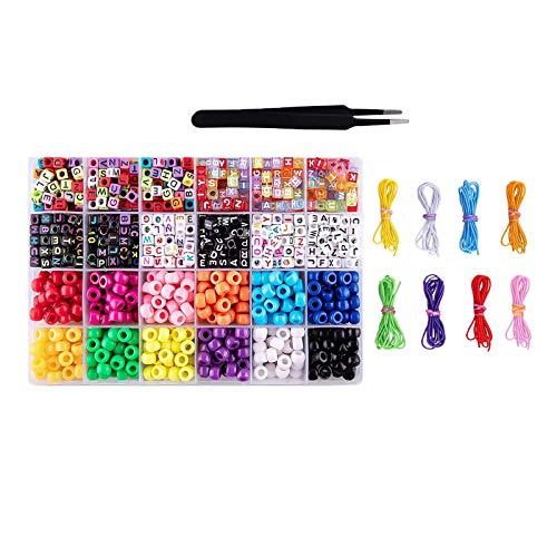 Sharplace Plástico Opaco Color 360pcs Pony Beads Cuentas de Plástico + 600x 6mm Alphabet Beads Caja de Almacenamiento de Plástico de 24 Rejillas para Pendientes