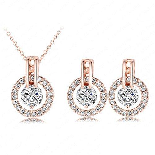 HS86 Luxus Kristall - Juego de collar y pendientes para mujer (chapado en oro de 18k)