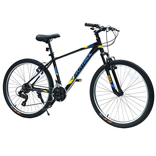 Murtisol 26 Inch Mountain Bike Aluminum 17 Inch Frame Shimano 21 Speeds Gears Adjustable Seat, Black Bikes for Adults