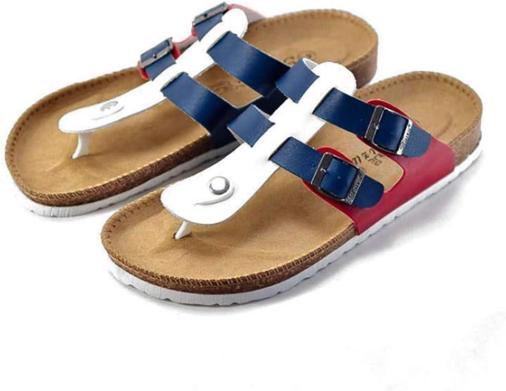 Slippers Slippers Men's Summer Flip Flops Sandals Comfortable Cork Beach Korean Pinch Couple Sandals Women Wear-Resistant Non-Slip(Color:D,Size:35)