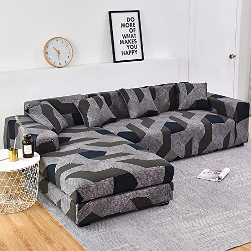 WXQY Chaise Longue Living Room Sofa Cover Elastic Hair Cover, all-Inclusive dustproof Telescopic Angle L-Shaped Sofa A1 3 Seater