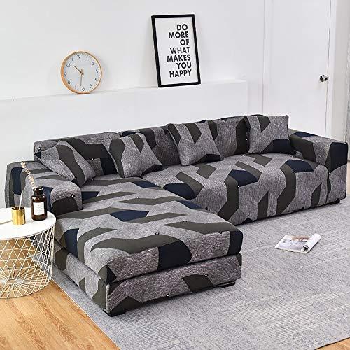 WXQY En Forma de L Necesidad de Comprar 2 Piezas, Esquina de la Sala de Estar Cubierta de sofá elástica elástica Todo Incluido Cubierta de sofá a Prueba de Polvo Toalla de sofá A7 4 plazas