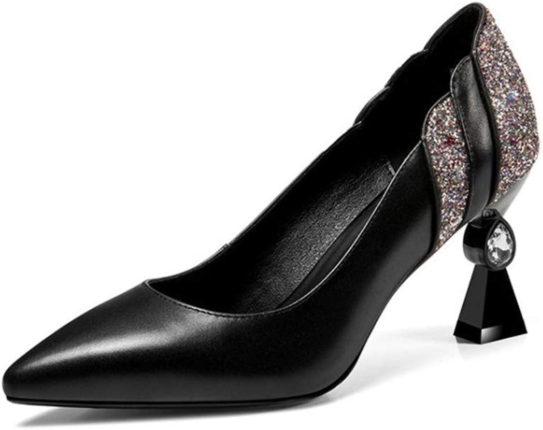 Sandalen Europa Und Amerika Damen Leder 7,5 cm Mode Wild Sexy Strass Flachen Mund Spitze High Heels