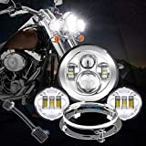 7' Chrome Led Headlight Auxiliary Lamp + 2Pcs 4.5 Inch 30W CREE LED Fog Driving Light with Headlight Bracket Adapter Ring
